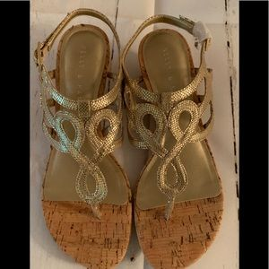 Kelly and Katie gold wedges Size 7.5 NEW